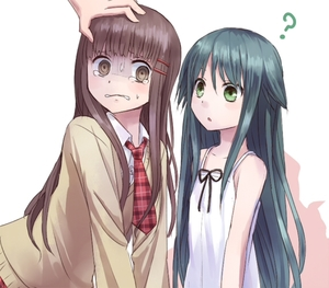 Rating: Safe Score: 0 Tags: 2girls ? blush brown_eyes brown_hair cardigan character_request collarbone dress dress_shirt green_eyes green_hair hair_flaps hand_on_another's_head long_hair looking_at_another multiple_girls necktie plaid plaid_neckwear saya saya_no_uta scared shaded_face shirt sundress sweat tears very_long_hair white_background white_dress wing_collar yuyuzuki_(yume_usagi) User: DMSchmidt