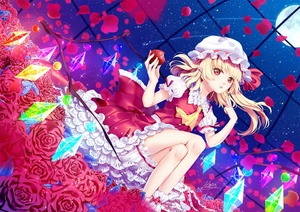 Rating: Safe Score: 0 Tags: 1girl apple artist_name ascot atatos bangs blonde_hair bloomers blush crossed_legs crystal dutch_angle eyebrows_visible_through_hair flandre_scarlet flower food frilled_shirt_collar frills fruit full_moon hands_up hat hat_ribbon head_tilt highres holding holding_fruit lace_trim leaf long_hair looking_at_viewer mob_cap moon night night_sky one_side_up parted_lips petals petticoat pointing pointing_at_self pointy_ears puffy_short_sleeves puffy_sleeves red_eyes red_flower red_ribbon red_rose red_skirt red_vest ribbon rose rose_petals short_sleeves signature sitting skirt skirt_set sky slit_pupils solo sparkle star_(sky) starry_sky thighs touhou_project underwear vest white_bloomers white_hat yellow_neckwear User: DMSchmidt