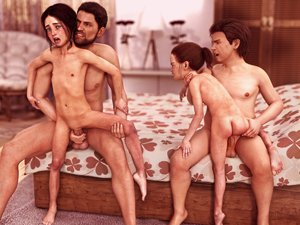 Rating: Explicit Score: 45 Tags: 2boys 2girls 3dcg age_difference ass barefoot beard bed blue_eyes blush brown_hair choking clandestine clenched_teeth closed_eyes flat_chest grimace legs_grab long_hair multiple_boys multiple_girls navel nude on_bed open_mouth penis photorealistic ponytail pussy red_hair shota spread_legs straight_shota testicles tiptoes vaginal User: yobsolo