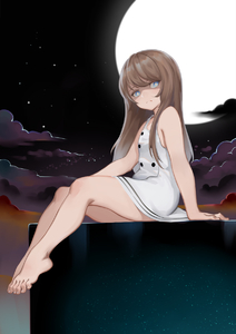 Rating: Safe Score: 2 Tags: 1girl arm_support bangs bare_shoulders barefoot cloud dress full_moon handesu highres legs long_hair looking_at_viewer moon night night_sky original outdoors short_dress sitting sky solo white_dress User: DMSchmidt