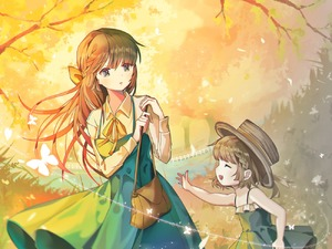 Rating: Safe Score: 0 Tags: 2girls :d autumn autumn_leaves bag bow braid brown_hair brown_hat butterfly closed_eyes dress fence ggomddak grass green_dress green_eyes hair_bow handbag hat long_hair multiple_girls open_mouth orange_bow original outdoors picket_fence short_hair smile twilight wooden_fence User: Domestic_Importer