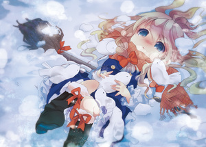 Rating: Safe Score: 0 Tags: 1girl alternate_eye_colour bird blonde_hair blue_dress blue_eyes blush boots braid broom cold dress hair_ribbon kedama_milk kirisame_marisa long_hair lying no_hat no_headwear on_back ribbon scarf snow snowflakes solo team_shanghai_alice touhou_project winter User: DMSchmidt