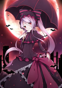 Rating: Safe Score: 0 Tags: 1girl absurdres bangs bat black_capelet black_dress black_umbrella bonnet bow capelet choker cross dress fang fang_out flag floating_hair frilled_dress frills full_moon gothic_lolita hair_between_eyes head_tilt highres holding holding_umbrella lolita_fashion long_hair long_sleeves looking_at_viewer moon over_shoulder overlord_(maruyama) pale_skin pink_choker pink_ribbon poinia purple_hair red_eyes ribbon ribbon_choker shalltear_bloodfallen smile solo striped striped_bow turtleneck twin_tails umbrella vampire very_long_hair User: DMSchmidt