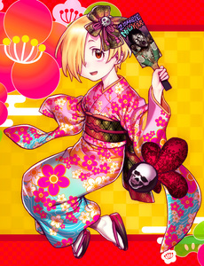 Rating: Safe Score: 0 Tags: 1girl abstract_background blonde_hair floral_print geta hair_ornament highres hijiri_rei idolmaster idolmaster_cinderella_girls japanese_clothes kimono looking_at_viewer one_eye_covered red_eyes shirasaka_koume skull tabi User: DMSchmidt