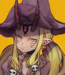 Rating: Safe Score: 1 Tags: 1girl :t alternate_costume alternate_hairstyle blonde_hair breasts cheek_bulge cleavage closed_mouth collarbone demon_girl earrings eating eyelashes facial_mark facing_viewer fate/grand_order fate_(series) food_themed_earrings forehead_mark gradient gradient_background hair_ornament halloween hat highres horns ibaraki_douji_(fate/grand_order) jack-o'-lantern jewellery long_hair looking_away low_twintails no_eyebrows norasame_(dagako) oni oni_horns orange_background pointy_ears puffy_sleeves pumpkin pumpkin_earrings purple_hat skull skull_hair_ornament slit_pupils solo tsurime twin_tails upper_body witch_hat yellow_eyes User: DMSchmidt