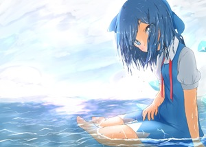 Rating: Safe Score: 0 Tags: 1girl arm_support barefoot blue_dress blue_eyes blue_hair bow breasts cirno cloud cloudy_sky day dress eyes_visible_through_hair hair_bow hair_over_mouth hair_over_one_eye hand_on_lap head_tilt highres horizon in_water looking_at_viewer mizune_(winter) neck_ribbon ocean outdoors pinafore_dress puffy_short_sleeves puffy_sleeves red_neckwear ribbon shirt short_hair short_sleeves sitting sky small_breasts solo thick_eyebrows touhou_project untied water_drop wet wet_clothes wet_hair white_shirt wings yokozuwari User: DMSchmidt
