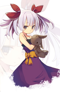 Rating: Safe Score: 2 Tags: 1girl bangs bare_shoulders brown_eyes closed_mouth cowboy_shot dress enamisachi eyebrows_visible_through_hair grey_hair hair_ribbon highres holding holding_stuffed_animal looking_at_viewer original purple_dress red_ribbon ribbon sash sleeveless sleeveless_dress solo standing stuffed_animal stuffed_bunny stuffed_toy twin_tails zoom_layer User: DMSchmidt