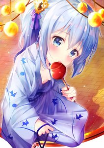 Rating: Safe Score: 0 Tags: 1girl animal_print bangs blue_eyes blue_kimono blush breasts brick_floor bunny_print candy_apple collarbone downblouse eyebrows_visible_through_hair food geta gochuumon_wa_usagi_desu_ka? hair_between_eyes highres holding holding_food japanese_clothes kafuu_chino kimono licking light_blue_hair long_hair long_sleeves looking_at_viewer no_bra obi outdoors ponytail print_kimono rouka_(akatyann) sash sidelocks small_breasts solo wide_sleeves User: DMSchmidt