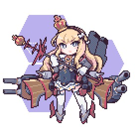 Rating: Safe Score: 0 Tags: 10s 1girl azur_lane blonde_hair blue_eyes borube bow brown_hairband crown detached_sleeves dress eyebrows eyebrows_visible_through_hair flat_chest full_body gloves hair_bow hairband honeycomb_(pattern) honeycomb_background long_hair long_sleeves lowres machinery mini_crown pixel_art queen_elizabeth_(azur_lane) solo thighhighs turret white_background white_bow white_gloves white_legwear zettai_ryouiki User: Domestic_Importer