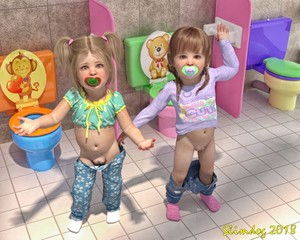 Rating: Questionable Score: 40 Tags: 2018 2girls 3dcg artist_name bathroom blonde_hair fat_mons highres long_sleeves looking_at_viewer multiple_girls navel pacifier pants_down photorealistic polka_dot polka_dot_shirt polka_dot_sleeves print_shirt pussy shirt short_sleeves slimdog standing tile_floor toddlercon toilet two_side_up User: Domestic_Importer