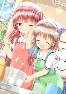 Rating: Safe Score: 0 Tags: 2girls :d ^_^ apron bangs batter blue_sky blush brown_apron brown_hair ceiling_light closed_eyes closed_mouth cloud cloudy_sky da konomori_kanon multiple_girls open_mouth smile tanemura_koyori watashi_ni_tenshi_ga_maiorita! zenon_(for_achieve) User: Domestic_Importer