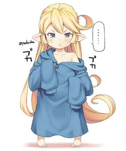 Rating: Safe Score: 1 Tags: 1girl barefoot blonde_hair blue_eyes blue_shirt charlotta_fenia curly_hair full_body granblue_fantasy jingai_modoki long_hair no_pants off_shoulder oversized_clothes pointy_ears shirt sleeves_past_wrists solo User: DMSchmidt