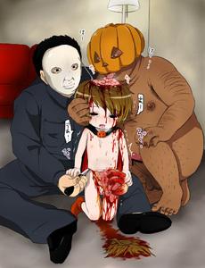 Rating: Explicit Score: 3 Tags: 1girl 2boys ball_gag brain guro halloween_(movie) harasaki intestines multiple_boys User: kuro