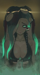 Rating: Safe Score: 1 Tags: 1girl arms_at_sides asymmetrical_hair bare_arms bare_shoulders bioluminescence black_hair breasts brown_skin cleavage collarbone collared_vest crop_top cropped_vest dark eyebrows eyeliner fog glowing glowing_hair green_eyes green_hair hair_over_one_eye headphones high_collar highres iida_(splatoon) kashu_(hizake) lips long_hair looking_at_viewer makeup mole mole_under_mouth multicoloured_hair no_loli octarian pink_pupils purple_hair smile solo splatoon splatoon_2 suction_cups tentacle_hair unzipped upper_body vest zipper zipper_pull_tab User: DMSchmidt