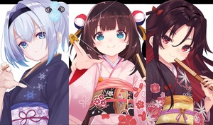 Rating: Safe Score: 0 Tags: 10s 3girls absurdres amacha bangs between_fingers black_hairband blue_eyes blue_flower blue_kimono blue_rose blush bow brown_hair brown_kimono closed_fan closed_mouth eyebrows_visible_through_hair fan floral_print flower folding_fan hair_between_eyes hair_bow hair_flower hair_ornament hairband head_tilt highres hinatsuru_ai holding holding_fan huge_filesize japanese_clothes kimono long_sleeves looking_at_viewer multicoloured_hair multiple_girls obi one_side_up pink_kimono print_kimono red_bow red_eyes red_hair rose ryuuou_no_oshigoto! sash shougi_piece silver_hair smile snowflake_print sora_ginko two-tone_hair wankoo-mikami wide_sleeves yashajin_ai User: Domestic_Importer
