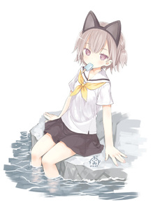 Rating: Safe Score: 0 Tags: 1girl animal_ears arm_support bare_legs barefoot blush cat_ears cat_tail eating food hibanar ice_cream ice_pop kaburi_chiko looking_at_viewer mouth_hold neckerchief original outdoors purple_eyes school_uniform serafuku short_hair short_sleeves short_twin_tails silver_hair simple_background sitting skirt soaking_feet solo tail twin_tails water white_background User: DMSchmidt