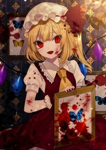 Rating: Safe Score: 0 Tags: 1girl :d ascot bangs blonde_hair blood blood_on_face bloody_clothes bloody_hair breasts bug butterfly crack crystal daimaou_ruaeru eyebrows_visible_through_hair eyelashes eyes_visible_through_hair fang flandre_scarlet frilled_shirt_collar frills hat hat_ribbon highres holding indoors insect light_particles long_hair looking_at_viewer mob_cap nail_polish one_side_up open_mouth petting picture_frame puffy_short_sleeves puffy_sleeves red_eyes red_nails red_ribbon red_skirt red_vest ribbon shirt short_sleeves skirt skirt_set slit_pupils small_breasts smile solo sparkle touhou_project vest wallpaper_(object) white_hat white_shirt wings wrist_cuffs yellow_neckwear User: DMSchmidt