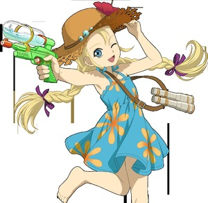Rating: Safe Score: 3 Tags: 1girl barefoot blonde_hair blue_eyes braid dress feet flat_chest long_hair looking_at_viewer one_eye_closed open_mouth patty_fleur smile solo straw_hat sundress tales_of_(series) tales_of_vesperia transparent_background twin_braids water_gun User: aladdinabu