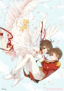 Rating: Safe Score: 0 Tags: 1boy 1girl angel cardcaptor_sakura dress hair_ribbon kero kinomoto_sakura li_xiaolang mia0309 petals ribbon signature title_drop uniform wings User: DMSchmidt