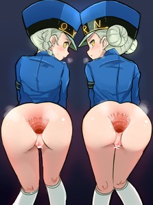 Rating: Explicit Score: 17 Tags: 2girls anus bar_censor bottomless braid breath caroline_(persona_5) censored double_bun gaping hat justine_(persona_5) kneepits konarofu long_sleeves looking_at_viewer looking_back multiple_girls nopan persona persona_5 police police_uniform profile pussy shiny shiny_skin siblings socks spread_anus tied_hair twins uniform white_legwear yellow_eyes User: Domestic_Importer