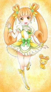 Rating: Safe Score: 1 Tags: 1girl boots bow brown_hair choker creature cure_rosetta curly_hair dokidoki!_precure double_bun earrings flower hair_flower hair_ornament hair_ribbon jewellery knee_boots long_hair magical_girl orange_background plant precure rance_(dokidoki!_precure) ratryu ribbon skirt smile twin_tails wrist_cuffs yellow_eyes yotsuba_alice User: DMSchmidt