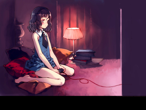 Rating: Safe Score: 3 Tags: 1girl barefoot black_hair blue_dress blue_eyes book books brown_hair collar controller copyright_request dress game_controller highres kneeling lamp necktie ooyari_ashito pale_skin pillow playing_games short_hair tie video_game wallpaper wire User: DMSchmidt