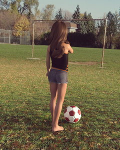 Rating: Safe Score: 10 Tags: 1girl 3dcg absurdres american_girls_paradise artist_request brown_hair denim_shorts feet field football from_behind grass highres long_hair outdoors photorealistic shorts solo tank_top tree User: Software
