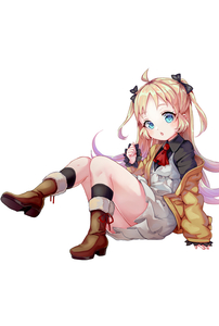 Rating: Safe Score: 0 Tags: 1girl ahoge ascot black_bow black_legwear black_shirt blonde_hair blue_eyes bow brown_footwear charlotte_izoard chestnut_mouth collared_shirt dress full_body fur-trimmed_boots fur_trim hair_bow hand_up head_tilt highres jacket kneehighs long_hair off_shoulder open_clothes open_jacket parted_lips pisuke pleated_dress red_neckwear ryuuou_no_oshigoto! shirt simple_background sitting sleeveless sleeveless_dress sleeves_past_wrists solo two_side_up very_long_hair white_background white_dress yellow_jacket User: Domestic_Importer