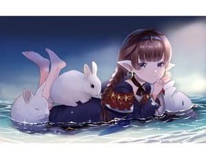 Rating: Safe Score: 5 Tags: 1girl absurdres animal bangs barefoot braided_ponytail brown_hair bunny capelet choker cloak earrings eyebrows_visible_through_hair feet_up granblue_fantasy grey_eyes grey_hair haaselila harvin headband highres jewellery long_sleeves looking_at_viewer lying myusha on_stomach partially_submerged pointy_ears ribbon_choker short_hair solo sparkle water User: DMSchmidt