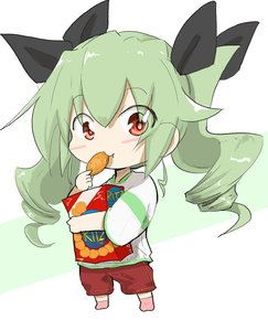 Rating: Safe Score: 0 Tags: 1girl :t anchovy bangs black_ribbon box brown_legwear brown_shorts drill_hair eating eyebrows_visible_through_hair food girls_und_panzer green_hair green_shirt hair_ribbon highres holding holding_food jinguu_(4839ms) long_hair looking_at_viewer red_eyes ribbon ritz_crackers shirt short_sleeves shorts socks solo standing twin_drills twin_tails white_background younger User: Domestic_Importer