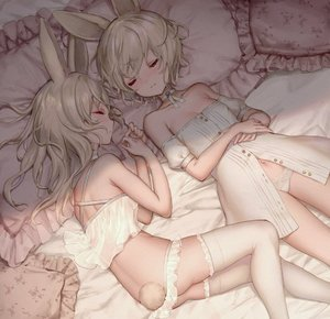 Rating: Safe Score: 9 Tags: 2girls animal_ears ass bangs bare_arms bare_shoulders bed_sheet blush breasts bunny_ears bunny_girl bunny_tail choker closed_eyes closed_mouth collarbone crop_top dress eyebrows_visible_through_hair frilled_pillow frills hair_between_eyes hands_up long_hair lying multiple_girls navel off-shoulder_dress off_shoulder on_back on_side original pantsu pantsu_pull pillow profile puffy_short_sleeves puffy_sleeves short_hair short_sleeves silver_hair sleeping small_breasts tail thighhighs underwear white_choker white_dress white_legwear white_pantsu yutsumoe User: DMSchmidt