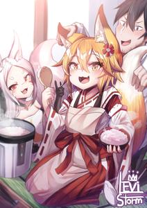 Rating: Safe Score: 0 Tags: 1boy 2girls absurdres animal_ear_fluff animal_ears apron blonde_hair cat_ears fox_ears fox_girl fox_tail highres levi_storm multiple_girls rice_cooker senko_(sewayaki_kitsune_no_senko-san) sewayaki_kitsune_no_senko-san shiro_(mononobe_koshoten_kaikitan) tail User: Domestic_Importer