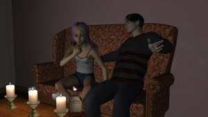 Rating: Safe Score: 5 Tags: 1boy 1girl 3dcg age_difference candle candlelight coffee_table couch dressed drugs hardway_house highres original photorealistic purple_hair self_upload shorts sitting smoking_pipe talking tank_top virginlover User: Virginlover