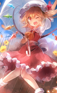Rating: Safe Score: 0 Tags: 1girl 60mai ;d arm_up ascot blonde_hair blush crystal fangs flandre_scarlet frilled_skirt frills hat hat_ribbon holding holding_umbrella knees_together_feet_apart looking_at_viewer mob_cap one_eye_closed open_mouth outdoors puffy_short_sleeves puffy_sleeves red_eyes red_ribbon red_skirt red_vest ribbon sash short_sleeves side_ponytail skirt skirt_set smile solo touhou_project umbrella wings User: DMSchmidt