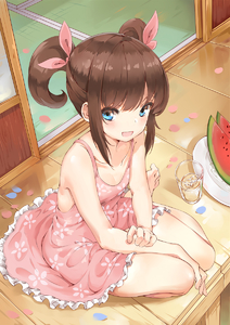 Rating: Safe Score: 7 Tags: 1girl :d bangs bare_shoulders barefoot blue_eyes blush brown_hair collarbone cup dress drinking_glass food frilled_dress frills fruit hair_ribbon handesu highres ice ice_cube looking_at_viewer medium_hair open_mouth original petals pink_dress pink_ribbon plate porch ribbon short_twin_tails sitting smile solo summer sundress twin_tails watermelon User: DMSchmidt