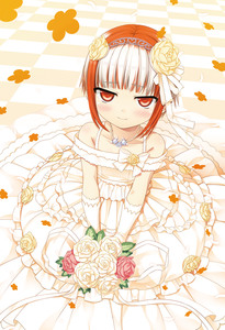 Rating: Safe Score: 4 Tags: 1girl absurdres bare_shoulders blush bouquet bride closed_mouth cura diadem dress elbow_gloves enty_reward eyebrows_visible_through_hair flower gloves hair_flower hair_ornament highres jewellery long_dress looking_at_viewer monobeno multicoloured_hair necklace paid_reward pink_rose red_eyes red_hair rose short_hair sitting smile solo sumi_(monobeno) tile_floor tiles wedding_dress white_dress white_gloves yellow_rose User: Domestic_Importer