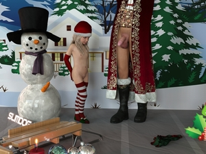Rating: Questionable Score: 20 Tags: 1boy 1girl 3dcg age_difference christmas flat_chest navel nipples penis penis_awe photorealistic pussy slimdog standing striped_legwear testicles thighhighs User: fantasy-lover