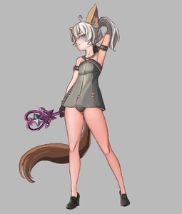 Rating: Safe Score: 1 Tags: 1girl animal_ears arm_behind_head arm_up armad armpits black_gloves black_panties blue_eyes dog_ears dog_tail dress elin full_body gloves grey_background grey_dress head_tilt highres legs long_hair pantsu ponytail pose shoes short_dress simple_background sleeveless sleeveless_dress smile solo tail tera_online underwear wand white_hair User: DMSchmidt