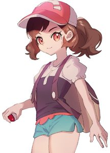 Rating: Safe Score: 6 Tags: 1girl ankea_(a-ramo-do) ayumi_(pokemon) backpack bag bangs baseball_cap brown_eyes brown_hair close-up closed_mouth cowboy_shot cropped_legs denim denim_shorts hat head looking_at_viewer poke_ball pokemon pokemon_(game) pokemon_lgpe ponytail puffy_short_sleeves puffy_sleeves shirt short_ponytail short_sleeves shorts simple_background smile solo standing upper_body white_background User: DMSchmidt