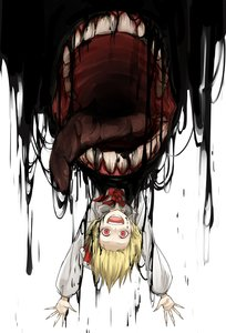 Rating: Safe Score: 0 Tags: 1girl :d absurdres arms_up blonde_hair crazy_eyes darkness dripping fangs fingernails hair_ribbon highres horror_(theme) kan_(aaaaari35) long_sleeves looking_at_viewer open_mouth red_eyes red_neckwear ribbon rumia sharp_fingernails smile solo teeth tongue tongue_out touhou_project upside-down wide-eyed User: DMSchmidt
