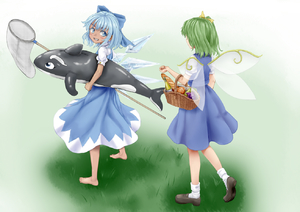 Rating: Safe Score: 0 Tags: 2girls apple baguette barefoot blue_dress blue_eyes blue_hair blush bottle bow bread butterfly_net cirno clenched_hand daiyousei dress fairy_wings food from_behind fruit full_body fuwatoro_(enemy-of-society) gradient gradient_background grapes grass green_hair grey_background grin hair_bow hair_ribbon hand_net inflatable_orca inflatable_toy loafers looking_at_another looking_back multiple_girls pear picnic_basket puffy_short_sleeves puffy_sleeves ribbon shoes short_hair short_sleeves side_ponytail simple_background smile socks standing tan tanned_cirno touhou_project walking white_legwear wine_bottle wings User: Domestic_Importer