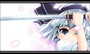 Rating: Safe Score: 0 Tags: 1girl :< blue_eyes hair_over_one_eye hairband ham_(points) katana konpaku_youmu petals silver_hair solo sword team_shanghai_alice touhou_project weapon white_hair User: DMSchmidt