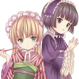Rating: Safe Score: 0 Tags: 2girls :d :o amano_sakuya black_hair blonde_hair cosplay costume_switch creator_connection crossover dress frills gosick gothic_lolita green_eyes hairband ikoku_meiro_no_croisee japanese_clothes kimono kiseru lolita_fashion long_hair looking_away multiple_girls open_mouth pipe short_hair smile tabi very_long_hair victorica_de_blois yune_(ikoku_meiro_no_croisee) User: Domestic_Importer