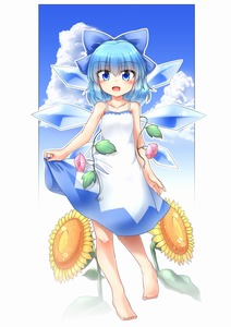 Rating: Safe Score: 0 Tags: 1girl bangs barefoot blue_eyes blue_hair bow cirno cloud day dress eyebrows eyebrows_visible_through_hair flower hair_between_eyes hair_bow highres ice ice_wings leaf looking_at_viewer m9kndi open_mouth plant short_hair sky solo sundress sunflower tanned_cirno touhou_project vines white_dress wings User: DMSchmidt