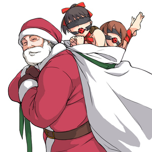 Rating: Questionable Score: 10 Tags: 1boy 2girls age_difference bag ball_gag barefoot bdsm beard belt blindfold bondage bound bound_legs bound_wrists carrying christmas christmas_outfit closed_eyes collarbone facial_hair feet gag gagged gloves hair_ornament hair_ribbon hat light_smile long_sleeves minato_fumi multiple_girls old_man original red_hat ribbon sack santa_claus santa_costume santa_gloves santa_hat simple_background size_difference slave what white_background User: Software