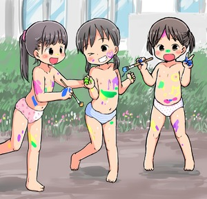 Rating: Questionable Score: 2 Tags: 3girls :o >_o arms_up barefoot blue_panties blush bodypaint brown_eyes brown_hair dirty fang flat_chest grin highres kindergarten long_hair low_twintails multiple_girls navel nipples no_pants one_eye_closed open_mouth original outdoors paint paintb paintbrush pantsu pink_pantsu polka_dot polka_dot_panties ponytail print_panties shimapan short_hair short_twin_tails smile standing standing_on_one_leg striped topless twin_tails umekko underwear underwear_only v white_pantsu User: Domestic_Importer