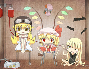 Rating: Safe Score: 0 Tags: 3girls barefoot bat bat_wings blonde_hair blood blood_bag blush_stickers button_eyes chair chibi crossover doll dress drinking_blood empty_eyes evangeline_athanasia_katherine_mcdowell fangs flandre_scarlet goggles goggles_on_head hat helmet hidarikata indoors legs_up long_hair mahou_sensei_negima! mob_cap monogatari_(series) multiple_girls one_eye_closed oshino_shinobu paw_print red_eyes remilia_scarlet short_sleeves side_ponytail sitting skirt skirt_set sleeveless slit_pupils smile team_shanghai_alice touhou_project trait_connection vampire very_long_hair wings yellow_eyes User: DMSchmidt