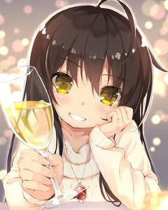 Rating: Safe Score: 2 Tags: 1girl alastor_(shakugan_no_shana) bangs black_hair blurry blush collarbone cup depth_of_field drinking_glass eyebrows_visible_through_hair fingernails hand_up head_rest head_tilt holding holding_cup jewellery long_sleeves looking_at_viewer pendant ring roke shakugan_no_shana shana smile solo sweater teeth upper_body wedding_band yellow_eyes yellow_sweater User: DMSchmidt