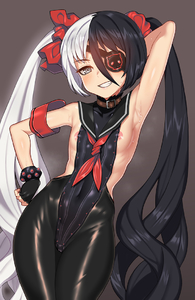 Rating: Questionable Score: 6 Tags: 1girl arm_behind_head armband armpits black_gloves black_hair black_leotard blade_&_soul breasts covered_navel eyepatch fingerless_gloves gloves grey_eyes grin hand_on_hip highleg highleg_leotard leather leather_pants leotard long_hair multicoloured_hair naughty_face nipple_slip nipples nt00 pants pohwaran pose ribbon scrunchie silver_hair small_breasts smile solo sweat twin_tails two-tone_hair very_long_hair User: DMSchmidt