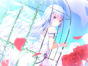 Rating: Safe Score: 0 Tags: 1girl :o bangs bare_shoulders blue_eyes blue_hair blue_sky blush cage cloud cross-laced_clothes day dress dutch_angle eyebrows_visible_through_hair feathered_wings flower flowers gochuumon_wa_usagi_desu_ka? hair_between_eyes hair_ornament holding in_cage kafuu_chino kouda_suzu long_hair looking_at_viewer looking_to_the_side outdoors parted_lips petals red_flower red_rose rose rose_petals skirt sky sleeveless sleeveless_dress solo transparent_wings very_long_hair white_dress white_hair wings wrist_cuffs x_hair_ornament User: DMSchmidt